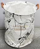 Cesto Para Roupas Sujas Organizador Flexível Laundry Basket Branco Preto - Coisaria