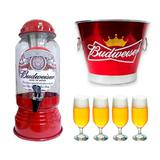 Chopeira Cervejeira + Balde Budweiser + 4 Copos Taça Floripa - Predileta