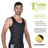 Cinta Emagrecedora MASCULINA Queima Gordura Less Now T-shirt Preta com Amarela