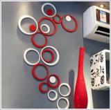 Círculos Decoração de Ambientes MDF 3d  Duas Cores 20 Peças Vermelho e Branco - Decoramix