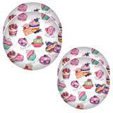 CJ 6 Pratos Rasos 25,5cm + 6 Pratos Sobremesa 20cm Cupcake - Art house