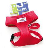 Coleira Peitoral com Guia American Pets Confort Vermelho - Amaerican pets