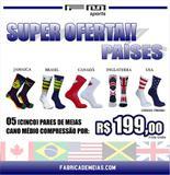 Combo de meias cano médio compressão países - Fm sports