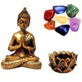 Combo Estátua de Buda + Castiçal + Pedras dos Chakras - Mandala de luz