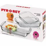 Conjunto 03 Assadeiras de Vidro Pyr-o-Rey
