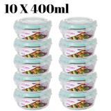 Conjunto 10 Potes Vidro Hermético Mantimentos Marmita 400ml - Redondo