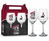 Conjunto 2 taças vinho - frases - com o passar dos vinhos - Brasfoot
