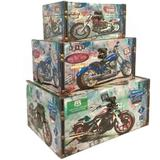Conjunto 3 Caixas Garage Motorcycle - Versare anos dourados