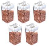Conjunto 5 Potes Herméticos Quadrados Acrílico 2,3 Lts - Injeplastec