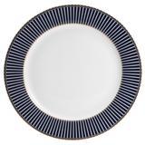 Conjunto 6 Pratos de Jantar de Porcelana Alto Relevo Cobalto Com Dourado - Rojemac
