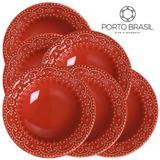 Conjunto 6 pratos fundos Esparta vermelho 22cm Porto Brasil