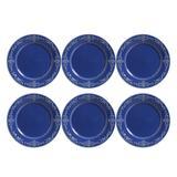 Conjunto 6 Pratos Raso Acanthus Azul Navy 323482 Porto Brasil