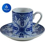 Conjunto 6 Xícaras de Café com pires Azulejo - Schmidt