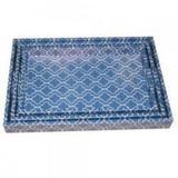 Conjunto Bandejas de Bambu Azul 3 peças - Decorafast