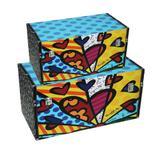 Conjunto Bau Romero Britto New Day c/2 - Madeira - 25cm x 50cm x 30cm- Trevisan Concept