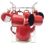 Conjunto Bule Esmaltado 1700ml com 6 Mini Canecas e Suporte Cromado - Yazi - Yazi e araminas