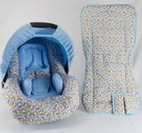 Conjunto Capa para Bebe Conforto com Acolchoado e Capa de Carrinho Macacos - Alan pierre baby