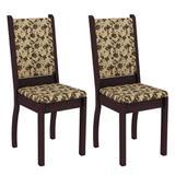 Conjunto com 2 Cadeiras Viena Linho Tabaco e Floral Bege - Madesa