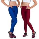 Conjunto com 2 Calças Legging Fitnes Suplex Lisa Cintura Alta Azul Bic e Vermelha - Della fitness
