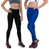 Conjunto com 2 Calças Legging Fitnes Suplex Lisa Cintura Alta Preta e Azul Bic - Della fitness