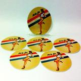 Conjunto com 6 Porta Copos Redondos Pin Up Girl Mascara Negra - All classics