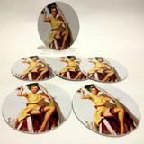 Conjunto com 6 Porta Copos Redondos Pin Up Pintora - All classics