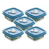 Conjunto de 05 Potes - 300 ml - Facilita Baby - Tampa Azul - Disney Baby - Nadir Figueiredo