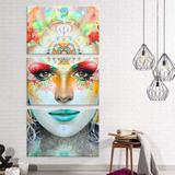Conjunto de 3 Telas Decorativas em Canvas Ganesha - Love decor