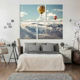 Conjunto de 4 Telas Decorativas em Canvas Hot Ballon - Love decor