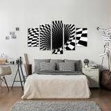 Conjunto de 5 Telas Decorativas em Canvas Abstrato 3D Black - Love decor