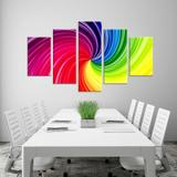 Conjunto de 5 Telas Decorativas em Canvas Abstrato Multi Color - Love decor
