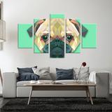 Conjunto de 5 Telas Decorativas em Canvas Dog - Love decor