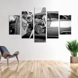 Conjunto de 5 Telas Decorativas em Canvas Retro Car - Love decor