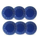 Conjunto de 6 Pratos Rasos Cestino Cerâmica Azul Navy - Porto brasil