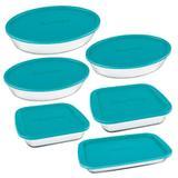 Conjunto De Assadeiras De Vidro Marinex 6 Peças Azul