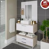 Conjunto De Banheiro Completo 60cm Balcão Painel Cuba + Garantia - Outlet das fabricas