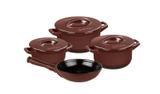 Conjunto de caçarolas de cerâmica ceraflame duo+ 4 peças chocolate