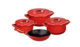 Conjunto de caçarolas de cerâmica ceraflame duo+ 4 peças pomodoro