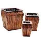 Conjunto de cestos de bambu com madeira 3 pcs - Btc decor