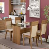 Conjunto de Mesa com 4 Cadeiras de Jantar Marina Linho Rústico Pérola - Madesa