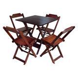 Conjunto De Mesa Com 4 Cadeiras De Madeira Dobravel 70x70 Imbuia - Guaramesas