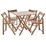Conjunto de Mesa com 4 Cadeiras de Madeira Dobravel Classic Beer Castanho - Une móveis