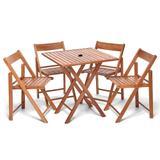 Conjunto de Mesa com 4 Cadeiras de Madeira Dobravel Gourmet Beer Castanho Com Suporte Para Ombrelone - Une móveis