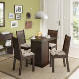 Conjunto de Mesa com 4 Cadeiras Lucy Tabaco e Floral Hibiscos - Madesa