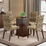 Conjunto de Mesa com 4 Cadeiras Tais Tabaco e Floral - Madesa