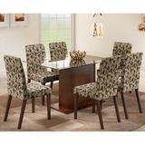 Conjunto de Mesa com 6 Cadeiras Karla Tabaco e Floral - Madesa