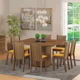 Conjunto de Mesa com 8 Cadeiras Clarice Rustic e Palha - Madesa