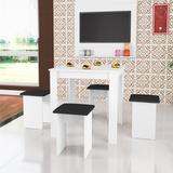 Conjunto De Mesa E 4 Banquetas Florença Branco Art In Móveis
