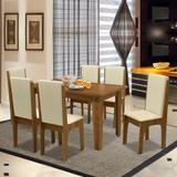 Conjunto de Mesa Miami 1,37m com 6 Cadeiras Mel / Bege - Dobuê