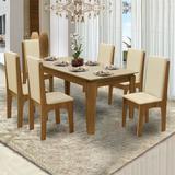Conjunto de Mesa Siena Mel Bege 1,60m com 6 Cadeiras Miami Mel Bege - Dobuê